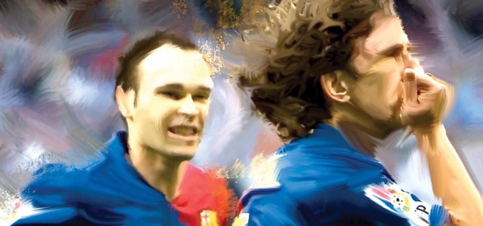 Iniesta y Puyol festejan